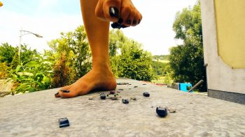 Giantess Loryelle crushing toy cars barefeet highway