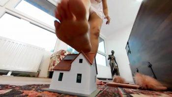 giantess crushing tiny town living room house